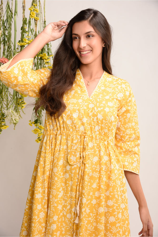Sunshine Yellow Floral Short Kaftan Dress - Floral Collection -DreamSS by Shilpa Shetty