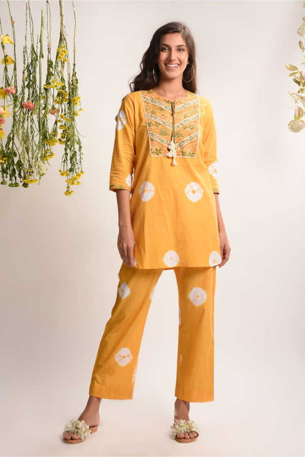 Two Piece Caramel Mustard Tie and Dye  Set - Tie and Dye Collection -DreamSS by Shilpa Shetty