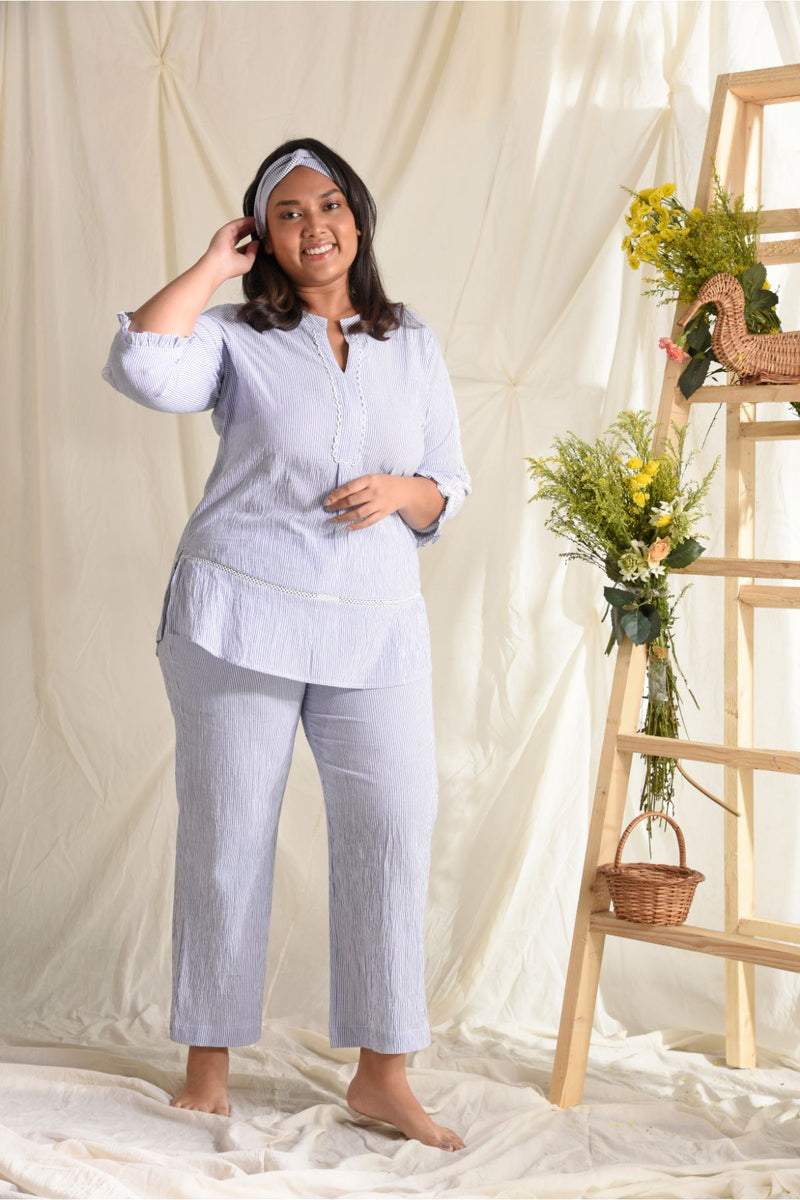 Comfy Nights Lace Effect Pyjama Set - Powder Blue - Comfy Nights Collection -DreamSS by Shilpa Shetty