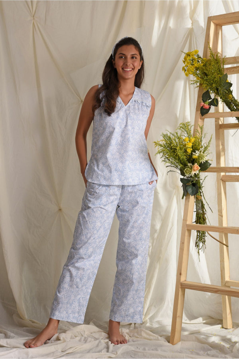 SSK Comfy Nights Ruffle Pyjama Set - Powder Blue - ShilpaTrending -DreamSS by Shilpa Shetty