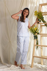 Comfy Nights Ruffle Pyjama Set - Powder Blue - Comfy Nights Collection -DreamSS by Shilpa Shetty