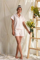 Comfy Nights Sleep Shorts Set - Peach White - Comfy Nights Collection -DreamSS by Shilpa Shetty