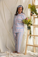 Neon Stripes Pyjama Set - Skyblue & Neon Stripes - Comfy Nights Collection -DreamSS by Shilpa Shetty
