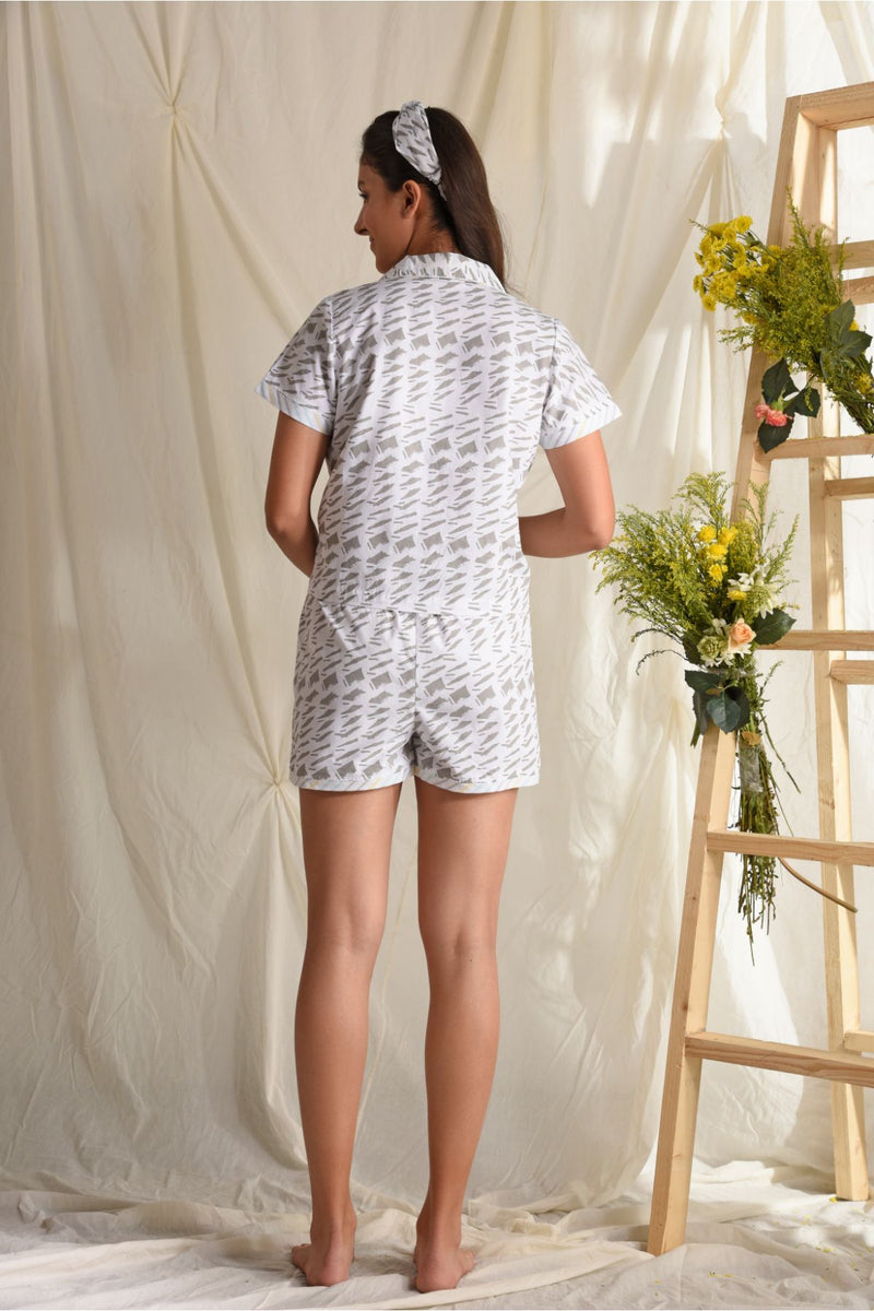 Comfy Nights Sleep Shorts Set - Grey White - Comfy Nights Collection -DreamSS by Shilpa Shetty