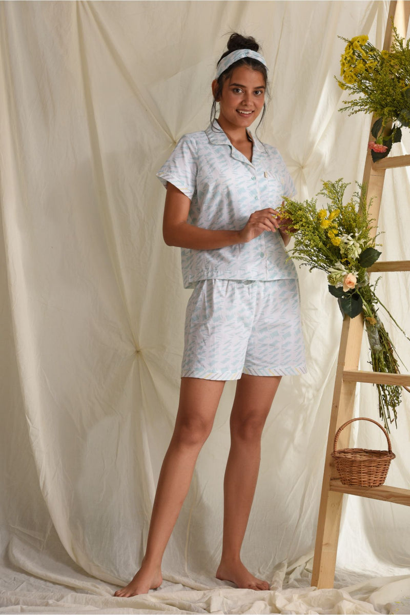 Comfy Nights Sleep Shorts Set - Blue & White - Comfy Nights Collection -DreamSS by Shilpa Shetty