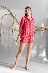 Hot Pink Satin Shorts Set - Dreamcatcher Collection -DreamSS by Shilpa Shetty