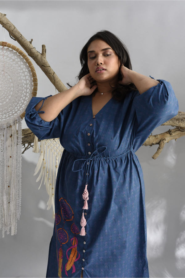 Midnight Blue Button Down Dress - Dreamcatcher Collection -DreamSS by Shilpa Shetty