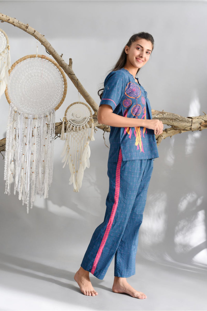 Midnight Blue Dreamcatcher Pyjama Set - Dreamcatcher Collection -DreamSS by Shilpa Shetty