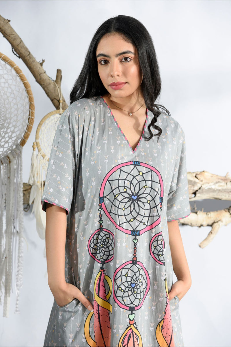 Dreamcatcher Ash Grey Long Nightgown - Dreamcatcher Collection -DreamSS by Shilpa Shetty