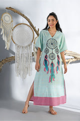 Dreamcatcher Aqua Blue Long Nightgown - Dreamcatcher Collection -DreamSS by Shilpa Shetty
