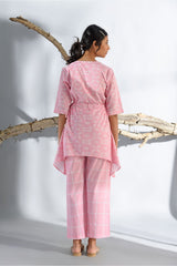 Printed Asymmetrical short Kurta and Pyjama Set - Pastel Pink - Floral Collection -DreamSS by Shilpa Shetty