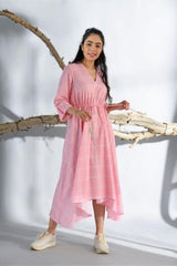Printed Pastel Pink Asymmetrical Long Dress - Pastel Pink - Floral Collection -DreamSS by Shilpa Shetty