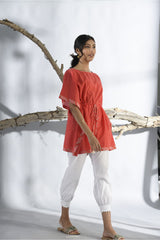 Bandhani Short Kaftan - Coral Red - Bandhani Collection -DreamSS by Shilpa Shetty