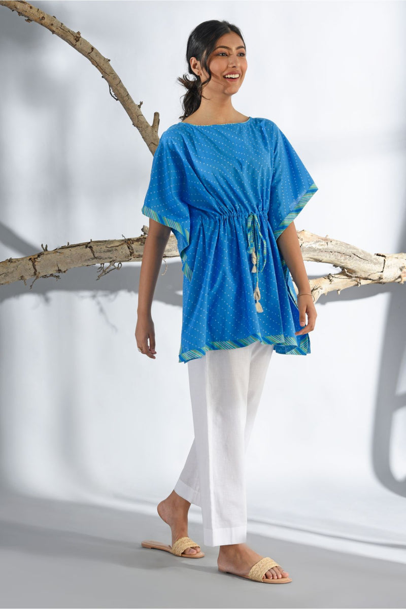 Bandhani Short Kaftan - French Navy - Bandhani Collection -DreamSS by Shilpa Shetty