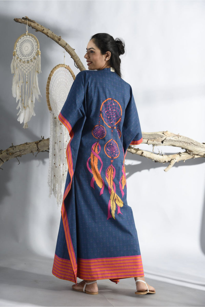 Midnight Blue Criss Cross Neck Kaftan - Midnight Blue - Dreamcatcher Collection -DreamSS by Shilpa Shetty