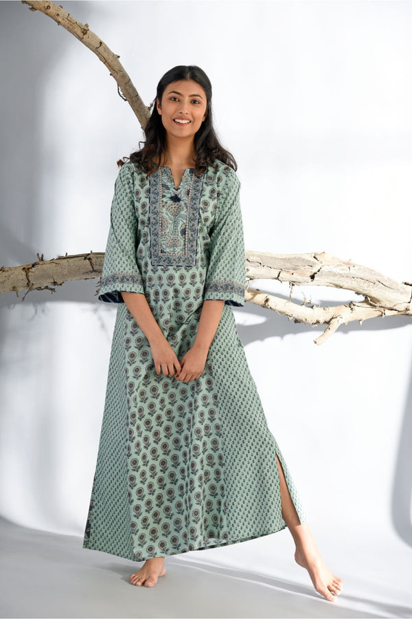 Ethnic Kalidar Nightgown-Aqua Green - Ethnic Collection -DreamSS by Shilpa Shetty