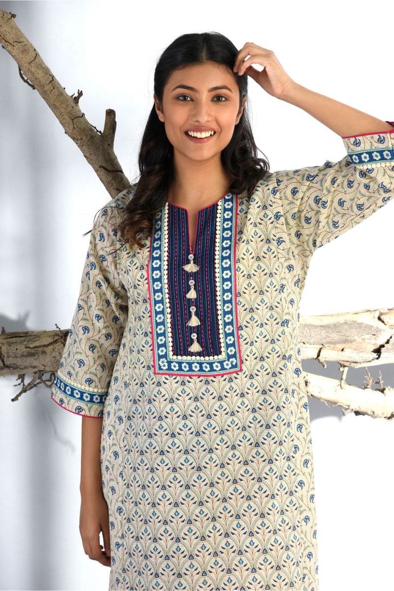 Midnight Blue Ethnic Print Nightgown - Ethnic Collection -DreamSS by Shilpa Shetty
