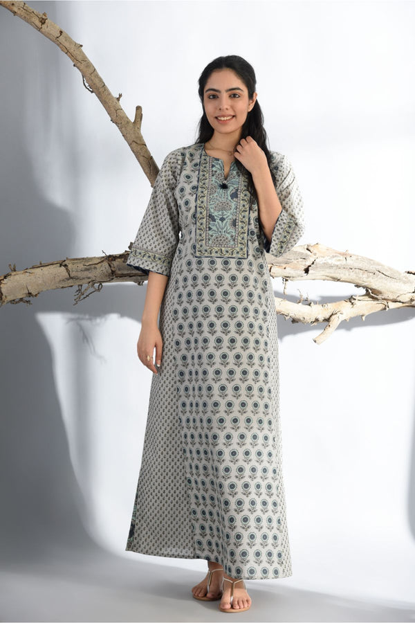 Ethnic Print Nightgown - Ash Grey - Ethnic Collection -DreamSS by Shilpa Shetty
