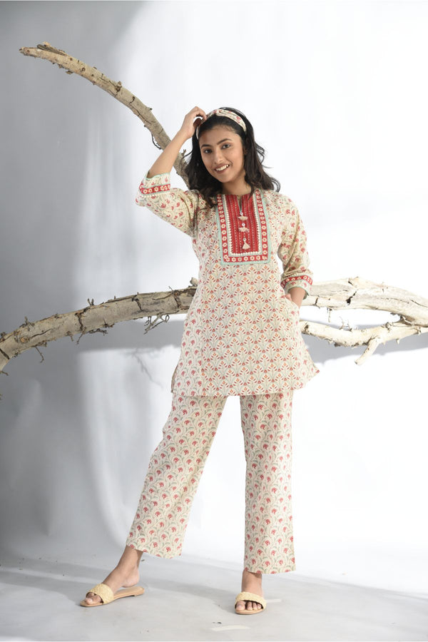 Ethnic Print Pyjama Set - Crimson Red - Ethnic Collection -DreamSS by Shilpa Shetty