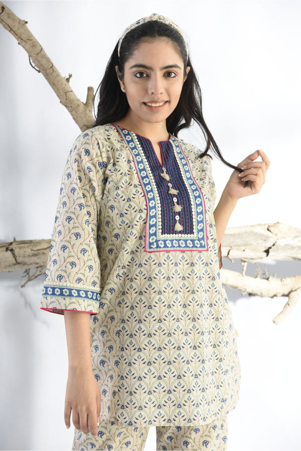 Ethnic Print Pyjama Set - Midnight Blue - Ethnic Collection -DreamSS by Shilpa Shetty