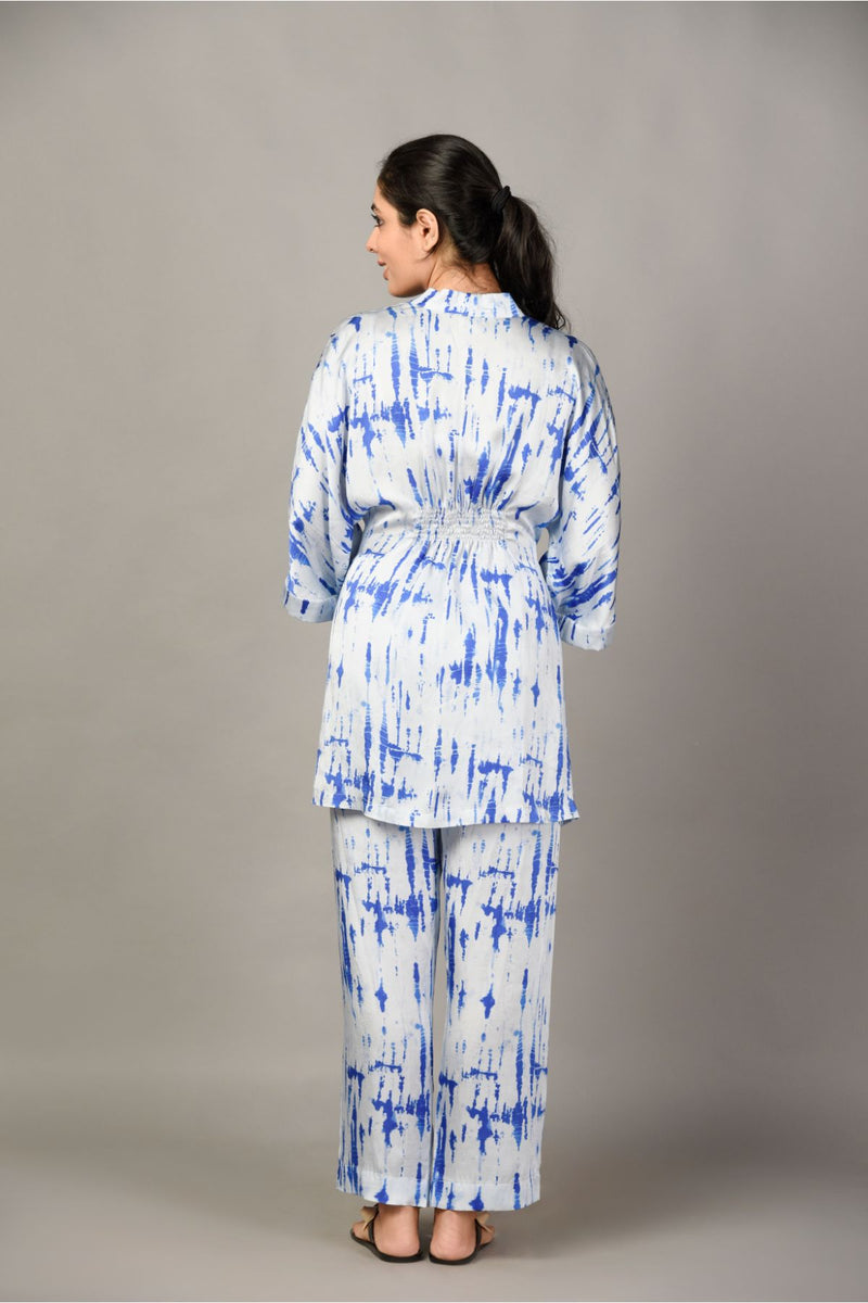 Tie & Dye Pyjama and Kimono Set - Navy Blue - Tie and Dye Collection -DreamSS by Shilpa Shetty