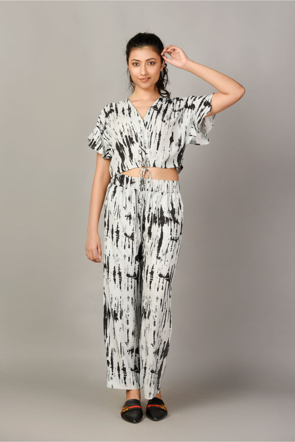 Tie & Dye Crop Top & Pyjama Set - Black - Tie and Dye Collection -DreamSS by Shilpa Shetty
