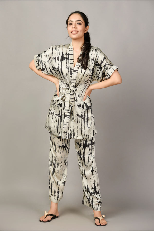 Tie & Dye Pyjama and Kimono Set - Monochrome - Tie and Dye Collection -DreamSS by Shilpa Shetty