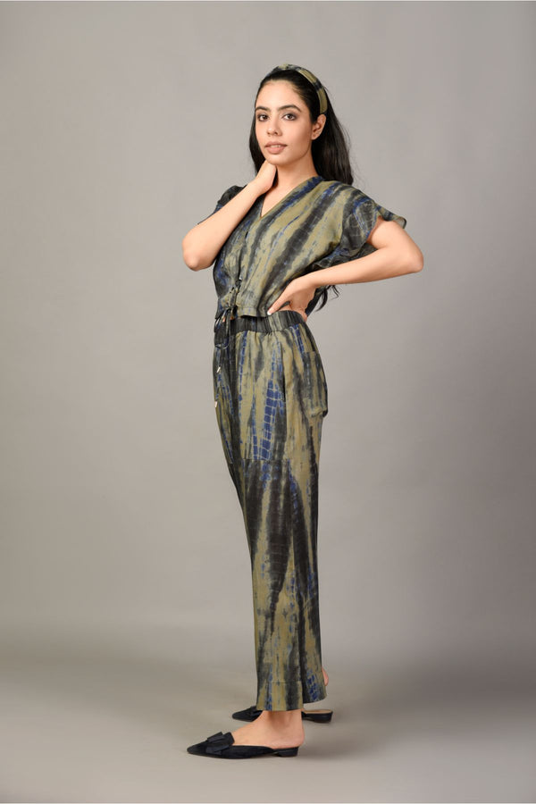 Tie & Dye Crop Top & Pyjama Set - Khaki Green - Tie and Dye Collection -DreamSS by Shilpa Shetty