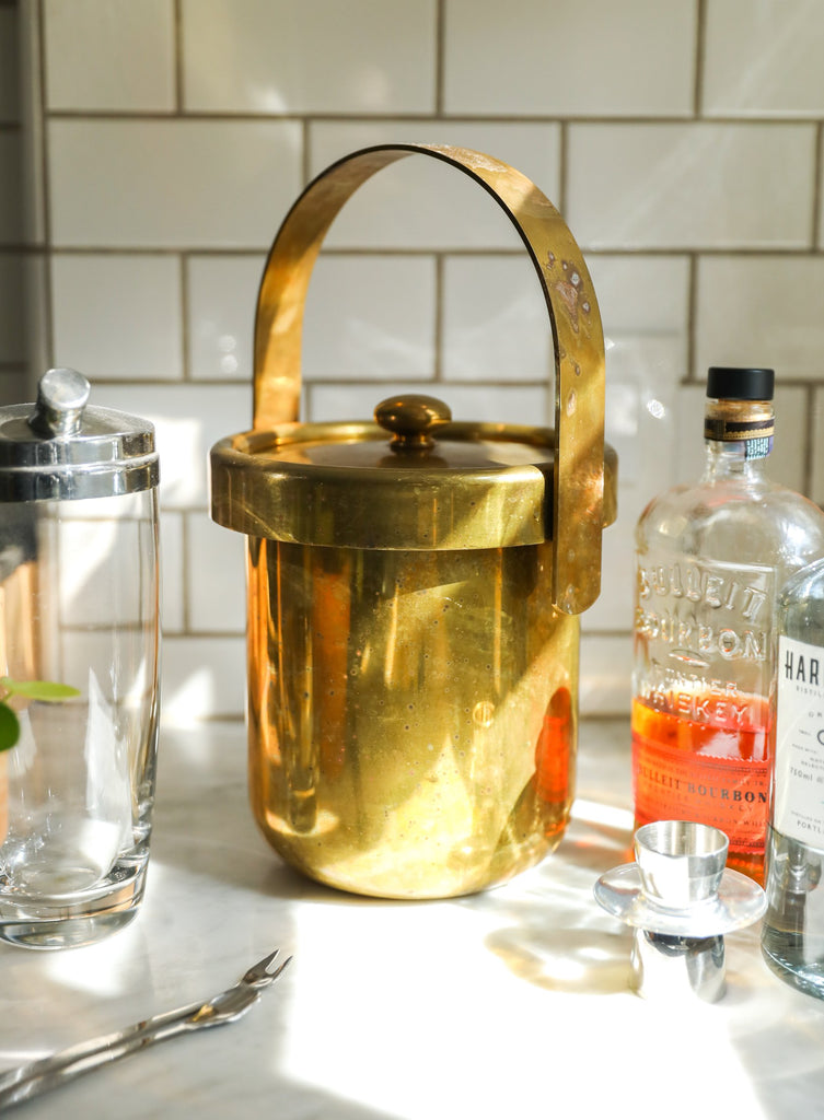 Vintage gold ice bucket with lid