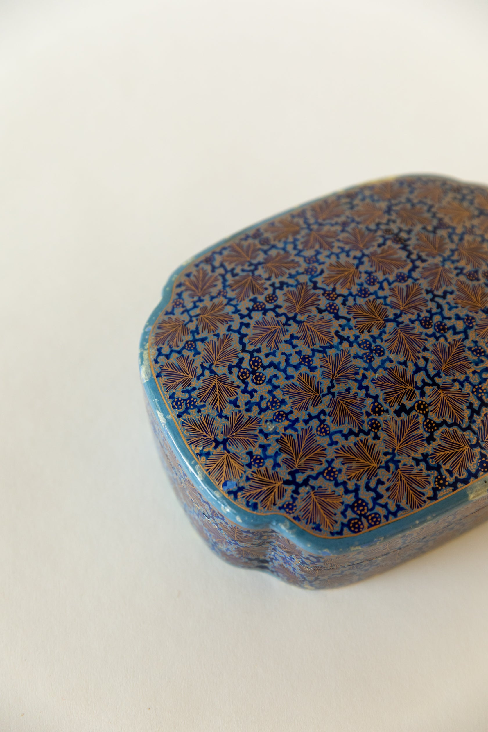 Hand Painted and Lacquered Papier-Mâché Trinket Box