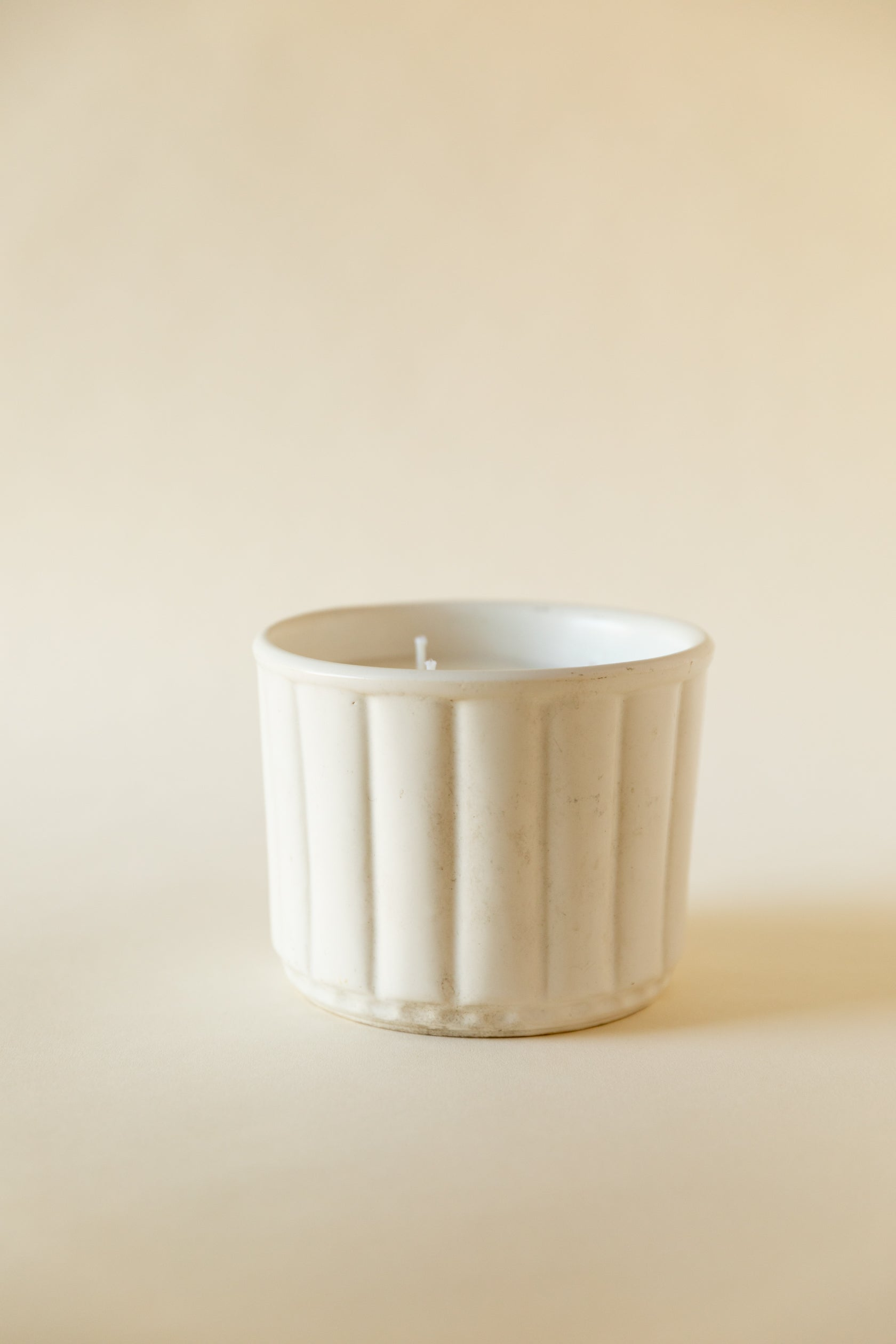 Vintage USA White Scalloped Pottery Candle