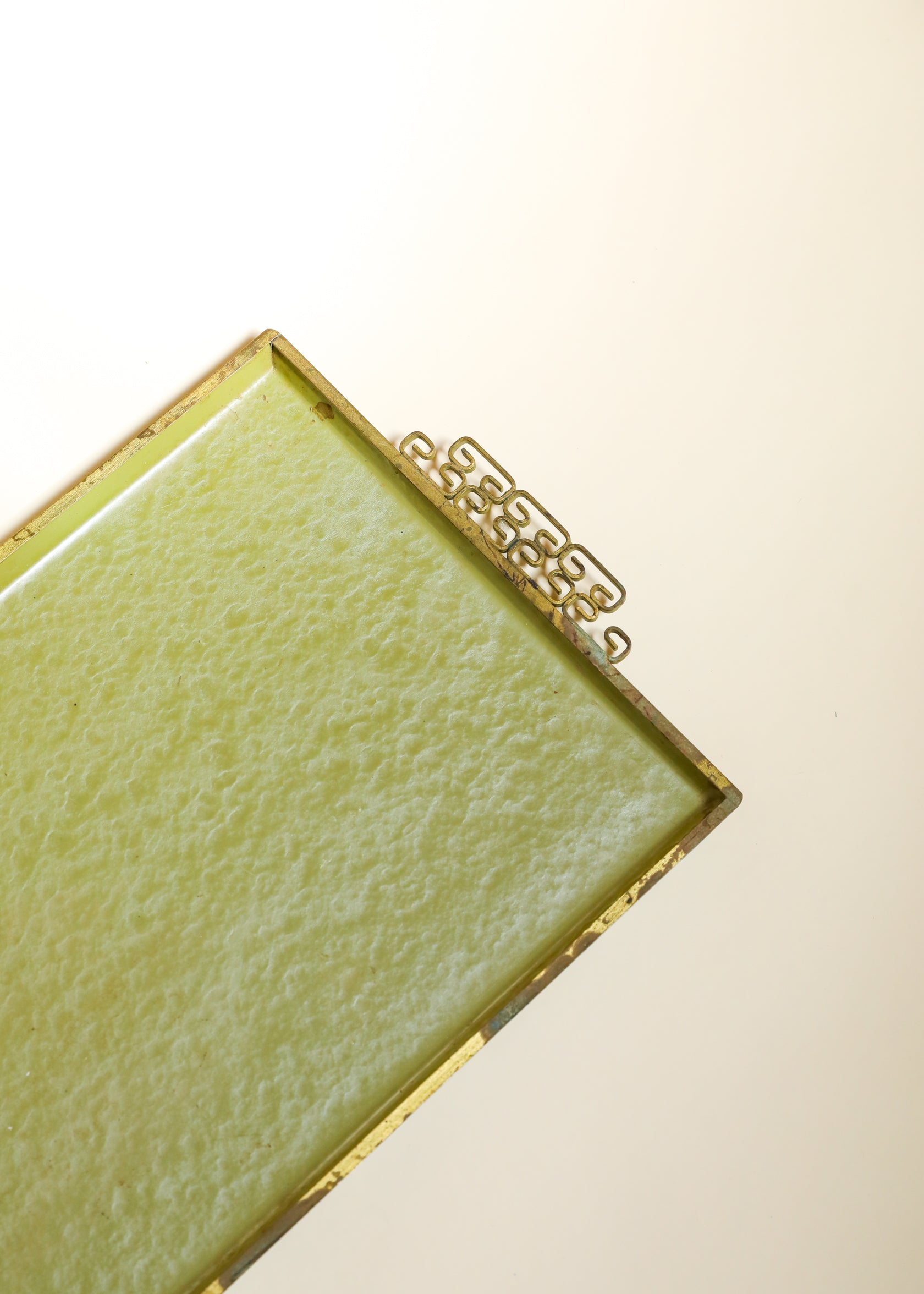 Moire Glaze Hollywood Regency Tray with Chinoiserie Handles