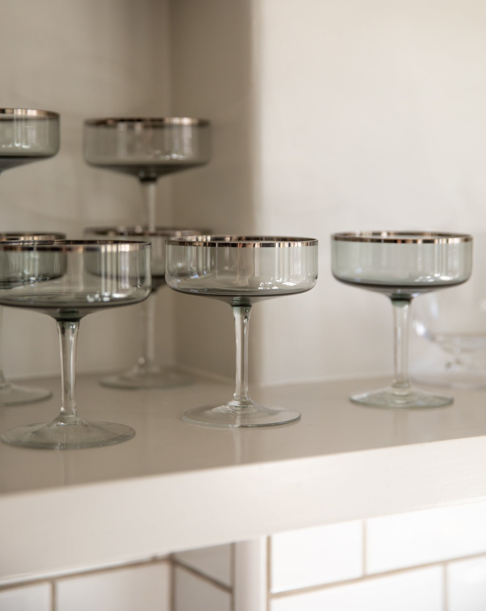 Silver Rim Smoky Coupe Glasses, Rosenthal Crystal, Set of 7