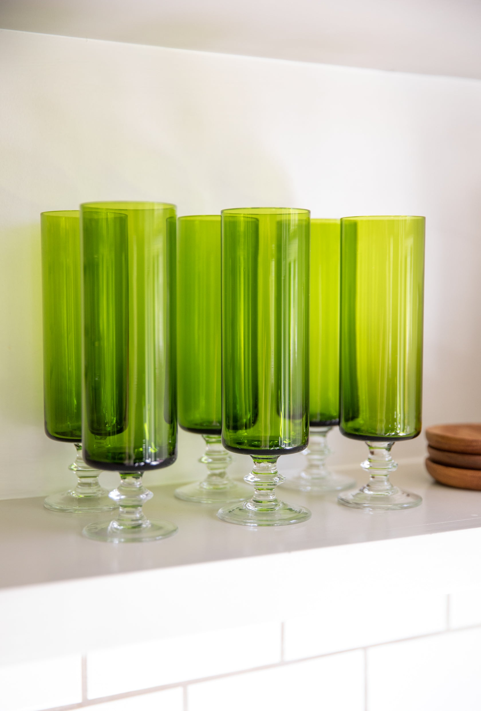 Tall Avocado Green Champagne Cocktail Glasses, set of 6
