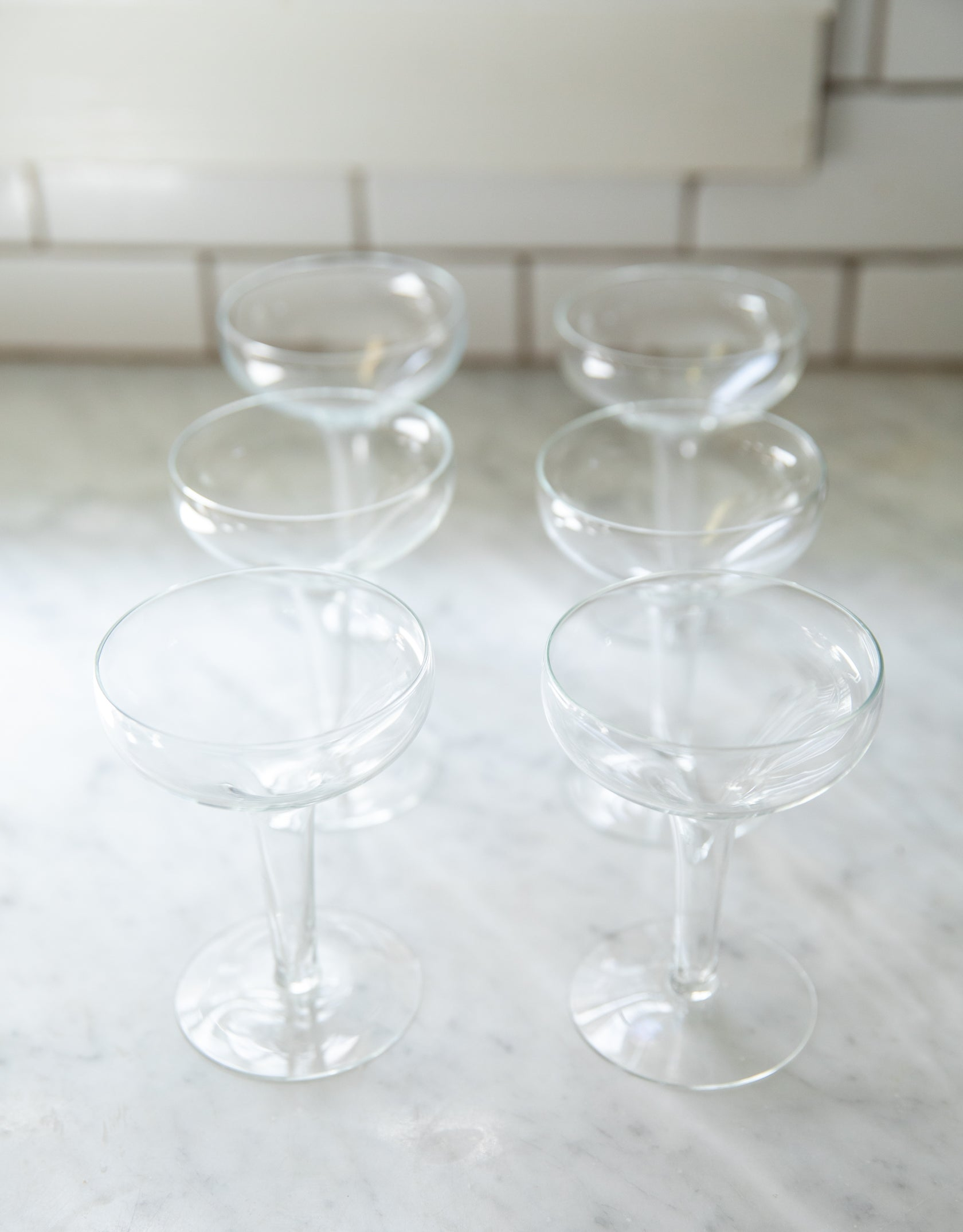 Classic Vintage Champagne Coupes with Well Stem, set of 6