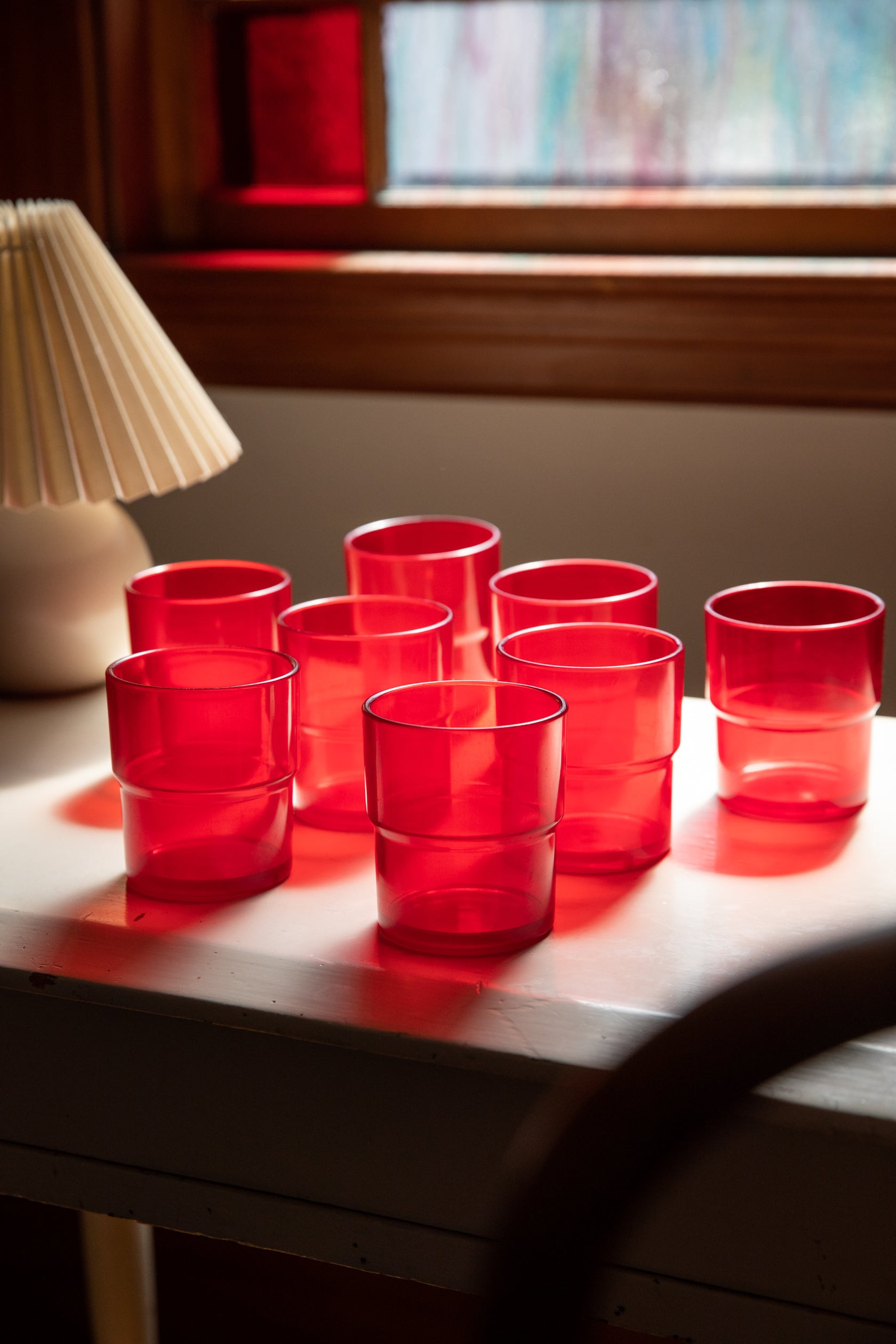 H.J. Stotter Ruby Picnic Stacking Tumblers, set of 8