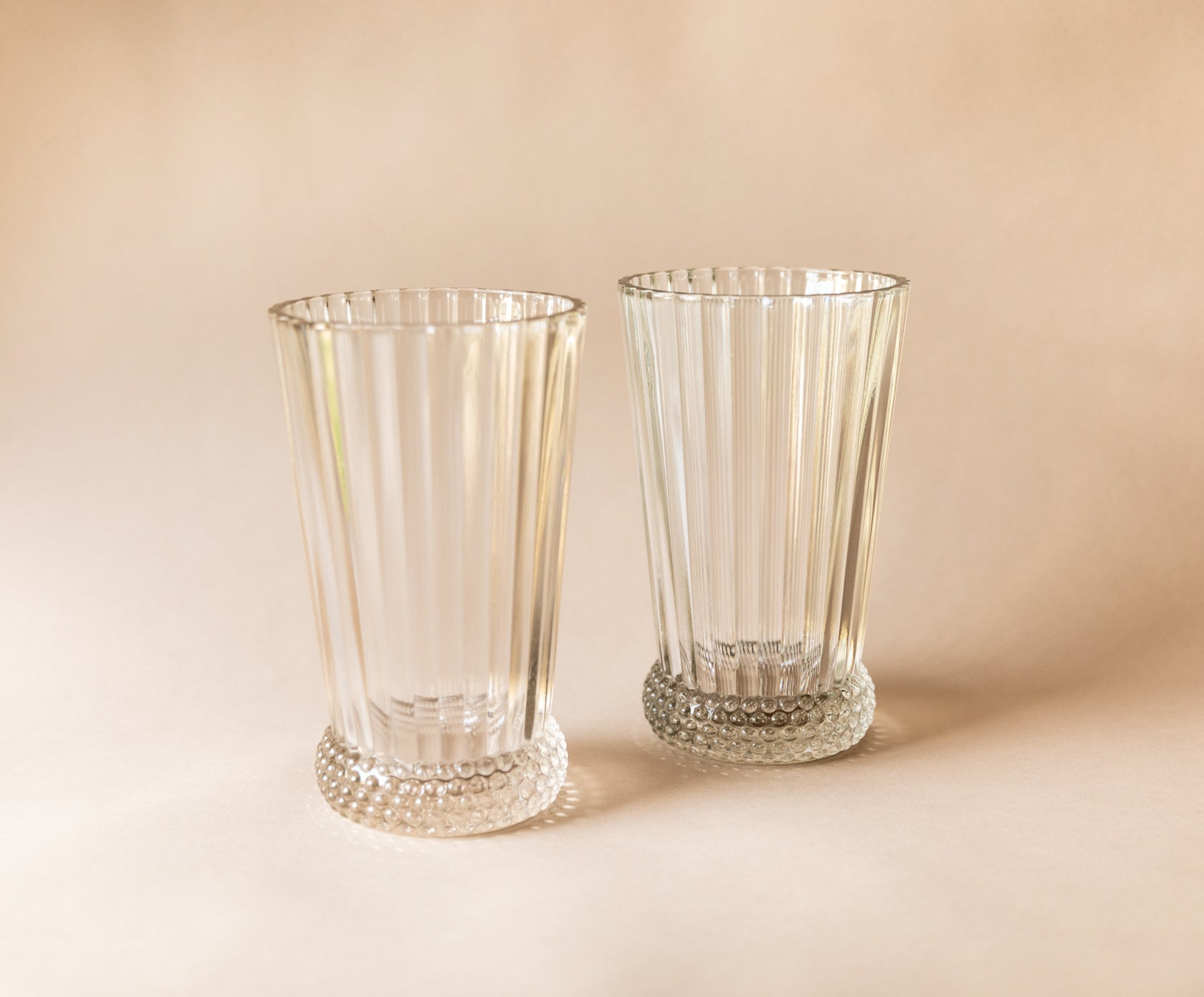 Hobnail Base Vases, set of 2