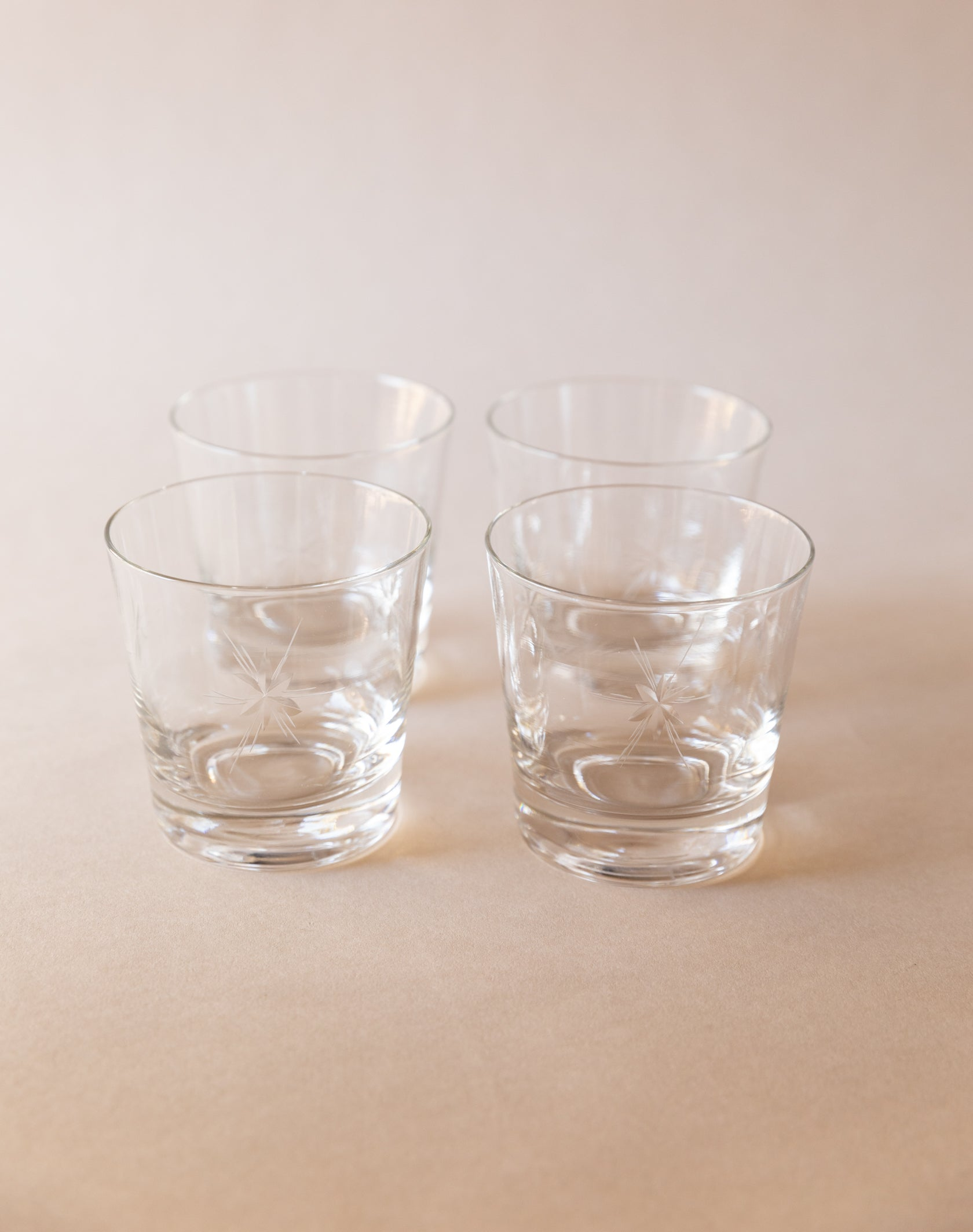 Starburst Etched Lowball Glasses, set of 4