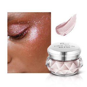 Image of the silver pink container of the face glitter highlighter with a face picture of the result