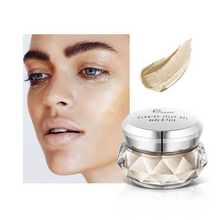 Load image into Gallery viewer, Image of the Shiny Beige version of the face glitter highlighter with a face picture of the result