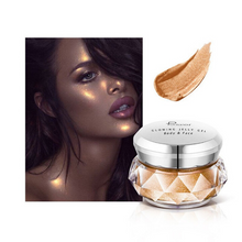 Load image into Gallery viewer, Image of the light brown version of the face glitter highlighter with a face picture of the result