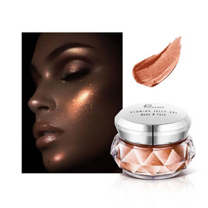 Image of the dark shiny brown choice of the face glitter highlighter with a face picture of the result