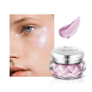 Image of the electric purple choice of the face glitter highlighter with a face picture of the result
