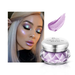 Image of the deep purple choice of the face glitter highlighter with a face picture of the result