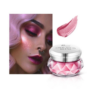 Image of the electric pink container of the face glitter highlighter with a face picture of the result