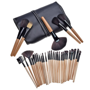Image of brown makeup brushes