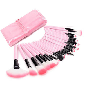 Image of pink makeup brushes