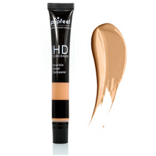 Load image into Gallery viewer, Image of one chocolate café single concealer with an exemple stain next to it that shows the color