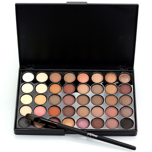 Front view of the 40 colors palette opened with a makeup brush in exampe