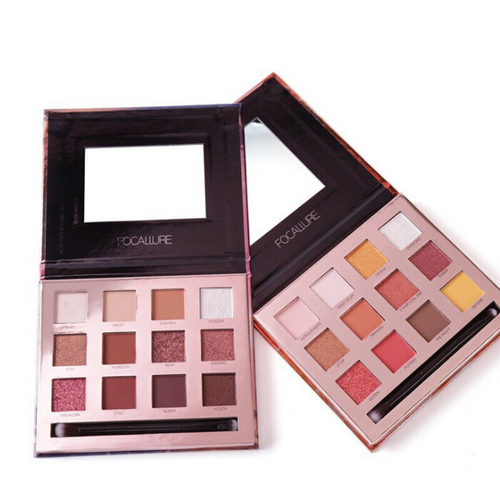 Image of 2 examples of palettes opened where you can see the 12 eyeshadow colors plus a brush included and a mirror
